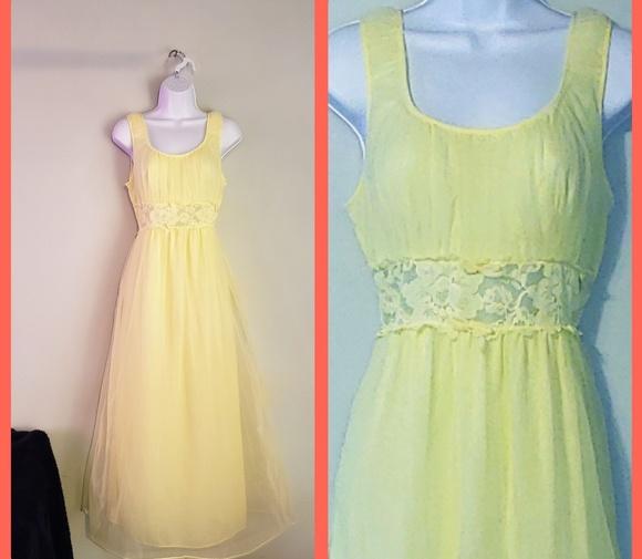 30b250da4dec Vintage Intimates & Sleepwear | Chiffon Lemon Yellow Night Gown ...